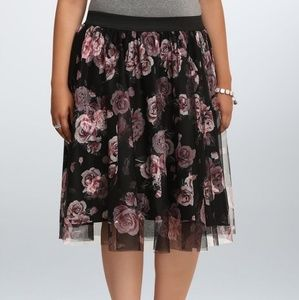 Torrid Black and Pink tulle midi skirt